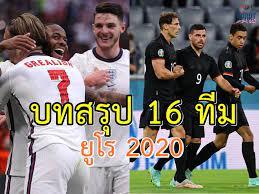 """บทสรุป 16 ทีมสุดท้ายยูโร 2020 บิ๊กแมตช์ """"สิงโตคำราม"""" ดวล """"อินทรีเหล็ก"""""""