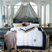 luxury egypt cotton blue classics bedding set embroidery silky duvet cover sets bed sheet pillowcases queen king size 4pcs