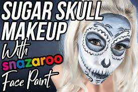 blue sugar skull makeup with snazaroo face paint