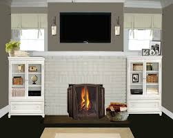 image of white painted brick fireplace