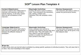 Siop Lesson Plan Template 1 Siop Lesson Plan Template 4 Example Shmp Info