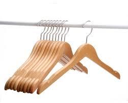 j s hanger natural solid beech wooden clothing hangers set of 10