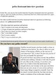 Police Lieutenant Interview Questions Job Interview Interview