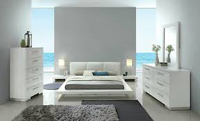CONTEMPORARY WHITE LACQUER Bedroom Furniture - 5pcs King Platform Bed Set IDA2