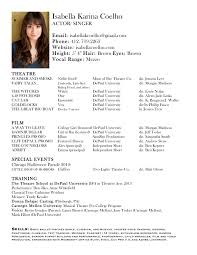 How To Write Acting Resume A Technical Theatre An For Audition Cv