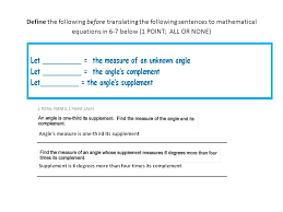 5 define the following before translating the following sentences to mathematical equations in 6 7 below 1 point all or none