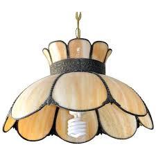 glass pendant lamp vintage slag glass pendant lamp hanging lampshade bronze brass smoky glass lighting glass