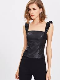 shein frill strap faux leather top