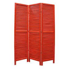 red 3 panel room divider