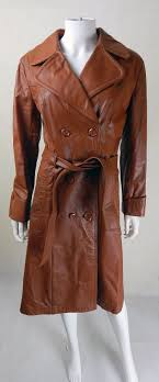 original 1970s vintage tan leather trench coat size 10 12
