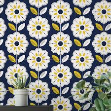 Mid Century Retro Bloemen Behang Moonwallstickerscom