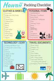 Packing For Vacation Lists What To Pack For Hawaii Printable Checklist Hawaii