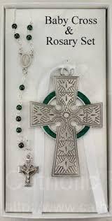 irish baby cross with baby rosary set