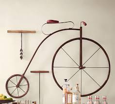 on metal bike wall art with high wheel bicycle wall art pottery barn