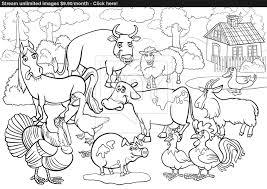 Enjoyable Ideas Farm Animals Coloring Cartoon For Book Vector