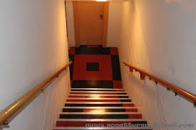 New Basement Floor Red and Black Retro VCT Tile Mid Century