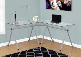 glass l shaped desk awesome l shaped corner glass puter desk with silver frame