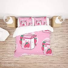 See more ideas about anime, kawaii, kawaii anime. Amazon Com Kuizee Bedding Set Duvet Cover Set Carton Of Strawberry Milk Kawaii Anime Cartoon Pink Decorative Breathable Ultra Soft Comfortable Durable Queen Home Kitchen