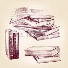 vine viejo libros dibujados a mano conjunto