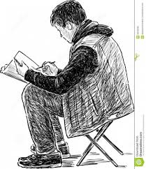 Young Artist Makes Sketches Stock Vector Illustration Of Artist
