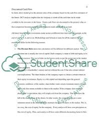 Discounted Cash Flow Essay Example Topics And Well Written