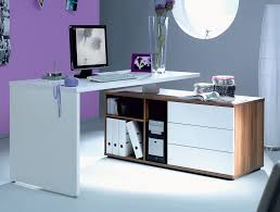 office table design. Build Your Own Office Desk : Astounding With White Corner And Purple Wall Color Table Design