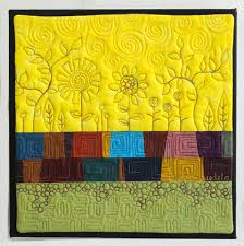 Creative Art Quilts: 5 Ways to Tap Into Your Inner Artist & Art Quilt with Stylized Flowers and Pebbles Adamdwight.com