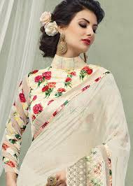 Floral Print Blouse Designs For Sarees White Georgette Saree With Printed Blouse