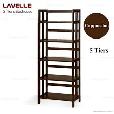5 tiers wooden bookshelves bookcase