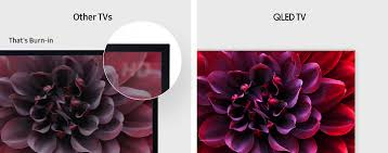 samsung qled tv. burn-in is a permanent defect in areas of tv display that can be caused by cumulative effects displaying the same image or scene for long periods samsung qled tv
