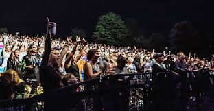a crowd of fans cheering and raising their arms in excitement at a summer concert