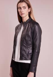 boss orange janabelle leather jacket black women