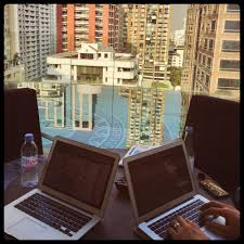 photo essay exotic offices writing nooks from around the 2 the rooftop pool office in bangkok this is how we started every morning