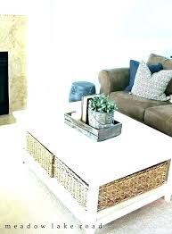 white coffee table with baskets side wicker basket storage coffee table with baskets underneath under coffee