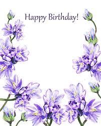 Happy Birthday Purple Flowers Painting By Irina Sztukowski