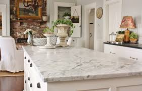 marble countertops in farmhouse kitchen from for the love of a house blog