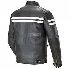 men s white stripe genuine black motorcycle leather jacket