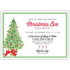 Christmas Inviations Festive Christmas Tree Open House Invitations