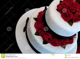 Wedding Cake With Red Roses Stock Photo Image Of Roses Icing