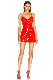 image 1 of david koma patent leather mini dress in red