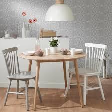 vintage round dining table modern solid oak d 100cm maisons du monde within 22