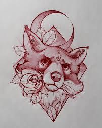 оригинальный универсальный эскиз тату лисы 354