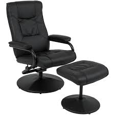 black leather swivel recliner chair with ottoman stool comfort relaxing seat