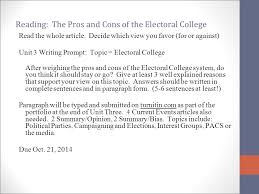 elections and the electoral college ppt reading the pros and cons of the electoral college