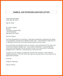 Sample Letter Of Declining A Job Offer Ideas Of How To Write A Letter Decline Job Offer Brilliant