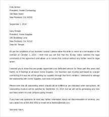 Business Service Contract Termination Letter Sample Security