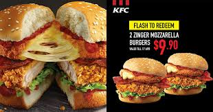 fan of kfc s zinger mozzarella burger you can get two of them for just s 9 90 now great deals singapore