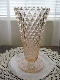 vintage pink depression glass trumpet flower bouquet diamond pattern vase by slofabulous