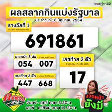 ThairathTV - 💰 สลากกินแบ่งรัฐบาล งวดประจำวันที่ 16 มิถุนายน 2564 รางวัลที่  1 ได้แก่ 691861 รางวัล 3 ตัวหน้า 054 , 007 รางวัล 3 ตัวหลัง 447 , 668 เลขท้าย  2 ตัว 17 ตรวจรางวัลได้ที่ >> https://www.thairath.co.th/lottery #ตรวจหวย #