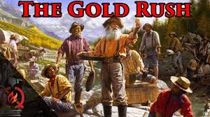 Image result for thousands of Americans rushed to California and Oregon in search of gold.